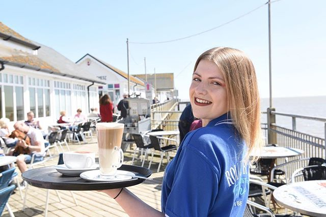 Serving hot chocolate on Southwold Pier