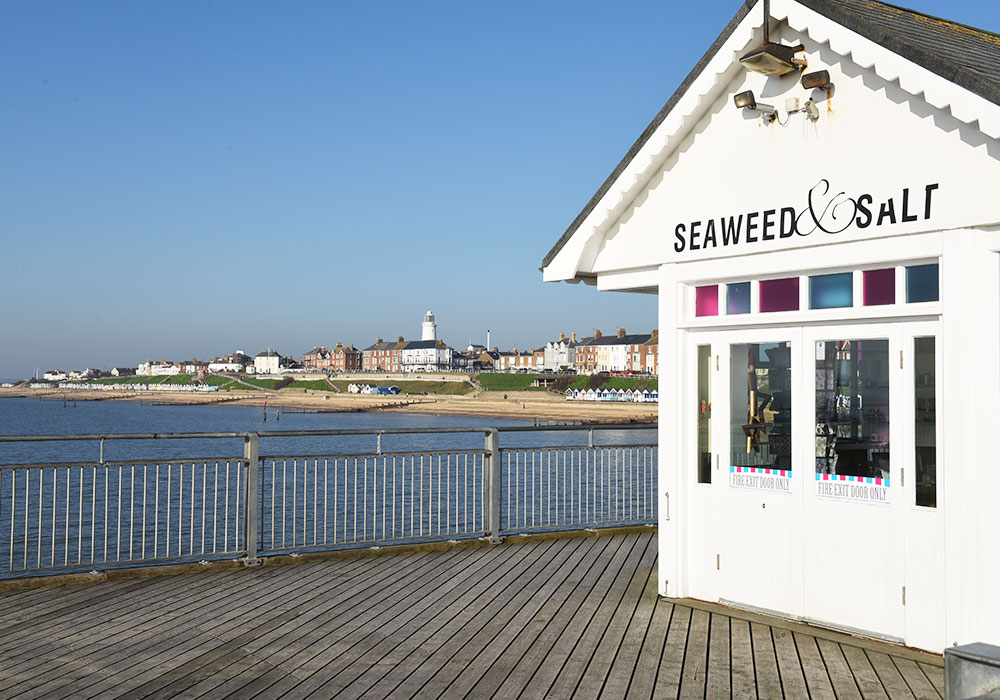 Looking back at Southwold from the end of the Pier