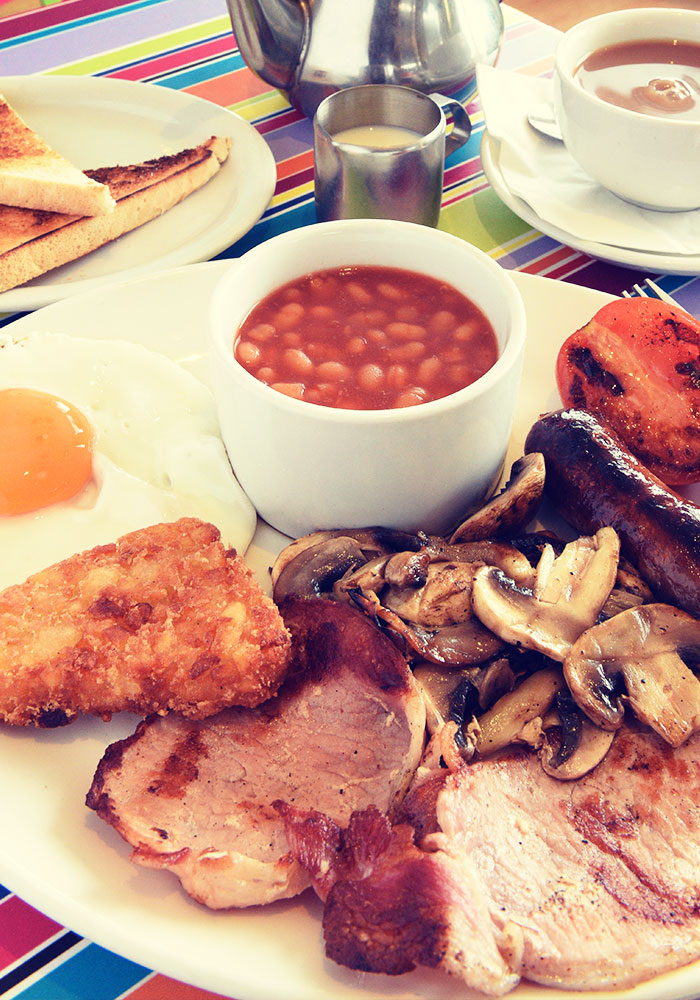 Full English breakfast in the Beach Cafe