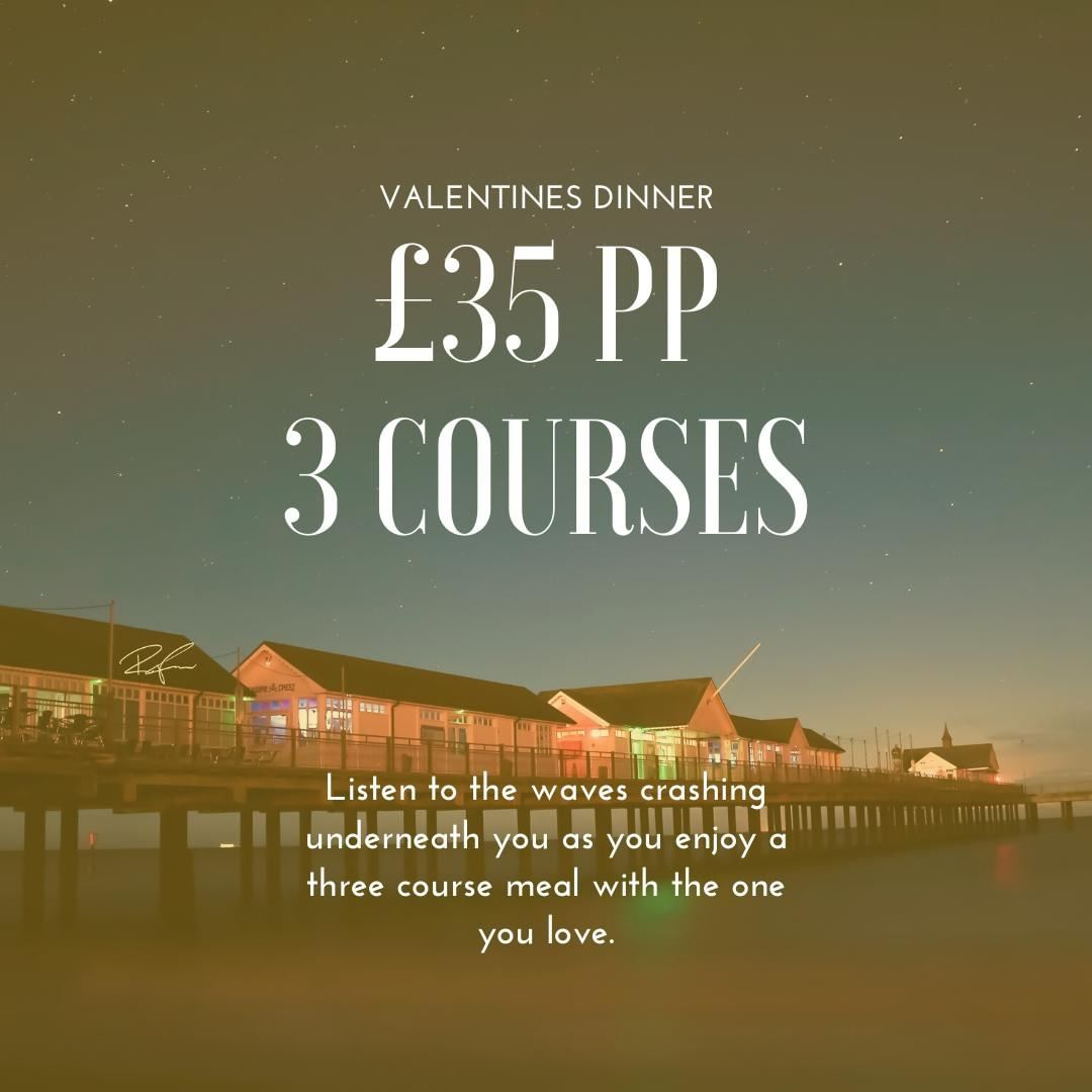 VALENTINE'S ⠀ Treat your loved one to a Romantic evening with a cocktail on arrival in Pier View Bar, followed by dinner in our Boardwalk Restaurant. 3 course meal is £35 per person. ⠀ Call 01502 722105, option 1 to enquire.