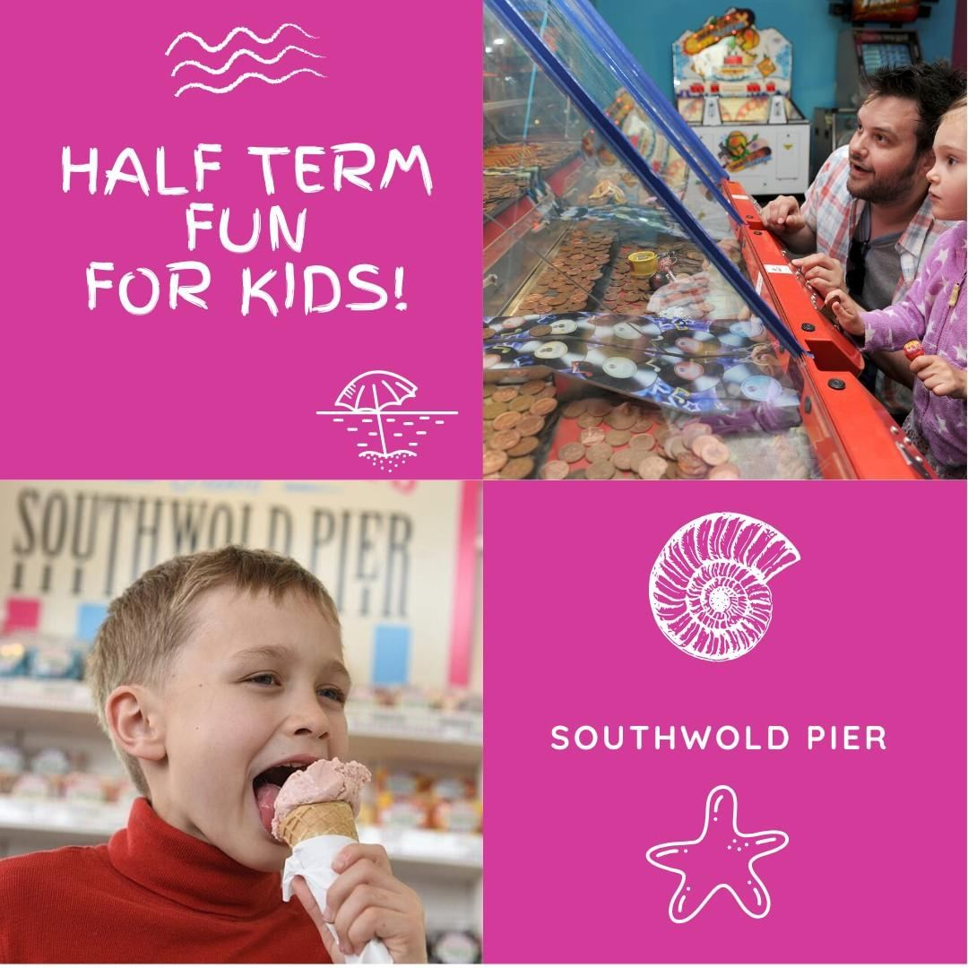 """During half term you'll be able to explore the Pier's history with your kids with our 120th anniversary trail! The Treasure Chest will also be open for your kids """"pocket money"""" treats and the arcade for everyone's entertainment. #southwoldpier #suffolk"""
