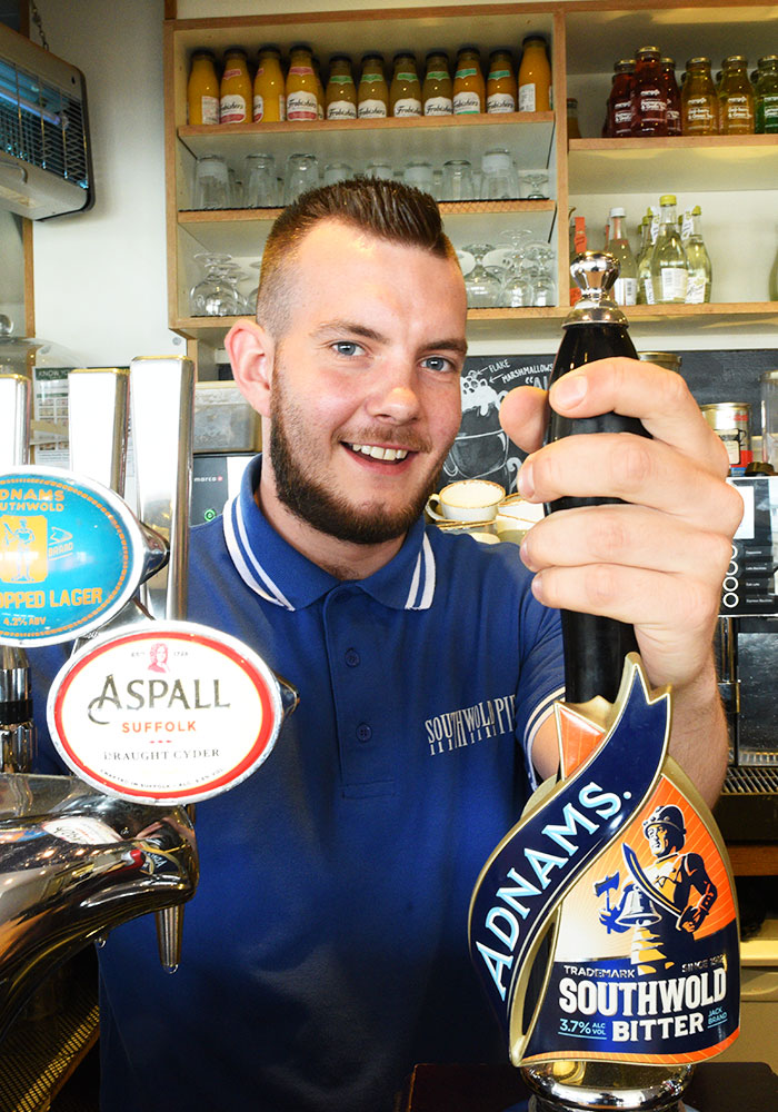 Serving Adnams on Southwold PIer