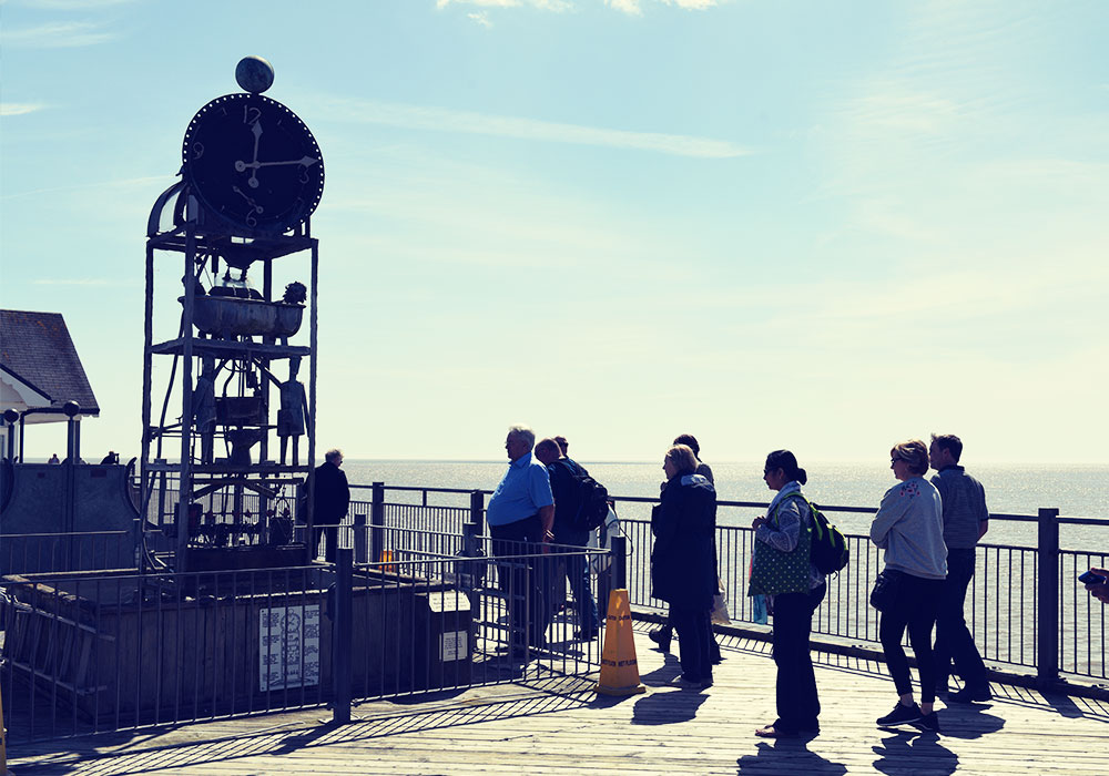 People watching the Water Clock